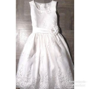 White formal fit n flare dress